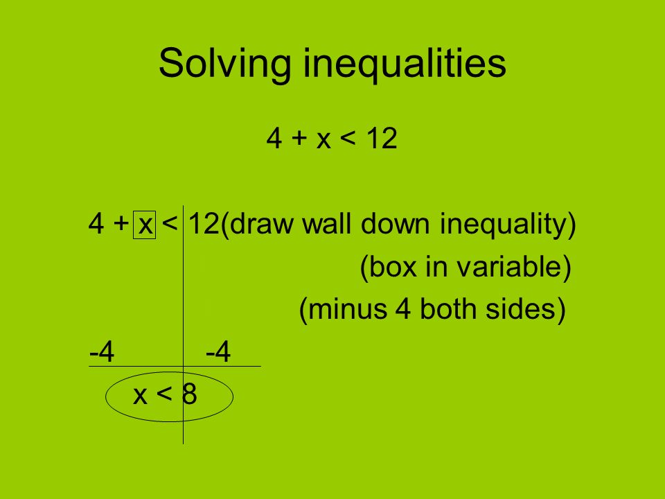 Solving inequalities 4 + x < 12