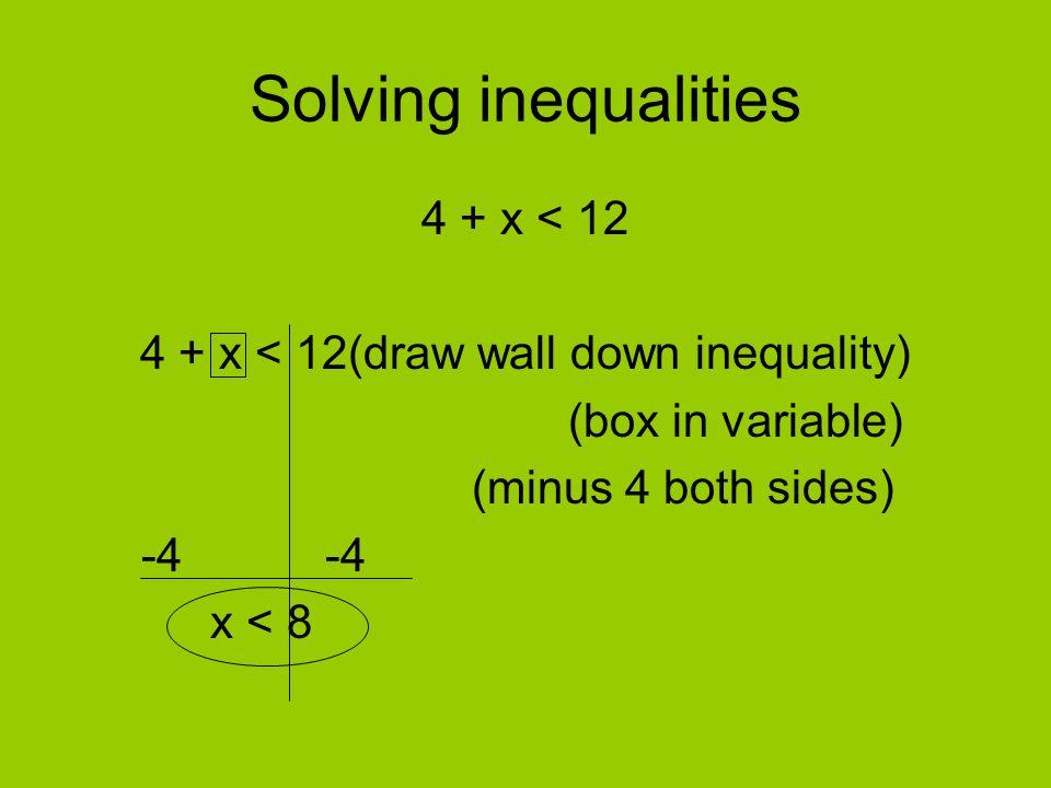 Solving inequalities 4 + x < 12
