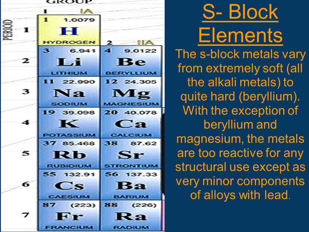 S- Block Elements The s-block metals vary from extremely soft (all the alkali metals) to quite hard (beryllium).