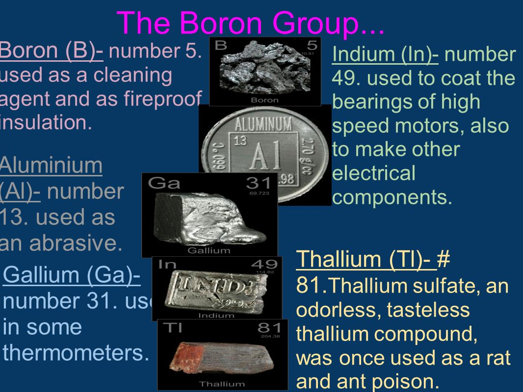 The Boron Group... Boron (B)- number 5. used as a cleaning agent and as fireproof insulation.