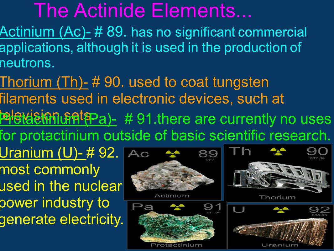 The Actinide Elements... Actinium (Ac)- # 89. has no significant commercial applications, although it is used in the production of neutrons.