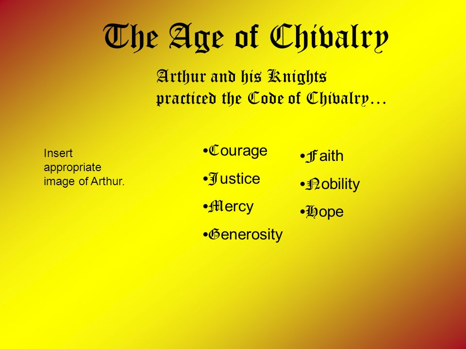 The Age of Chivalry Arthur and his Knights practiced the Code of Chivalry… Courage. Justice. Mercy.