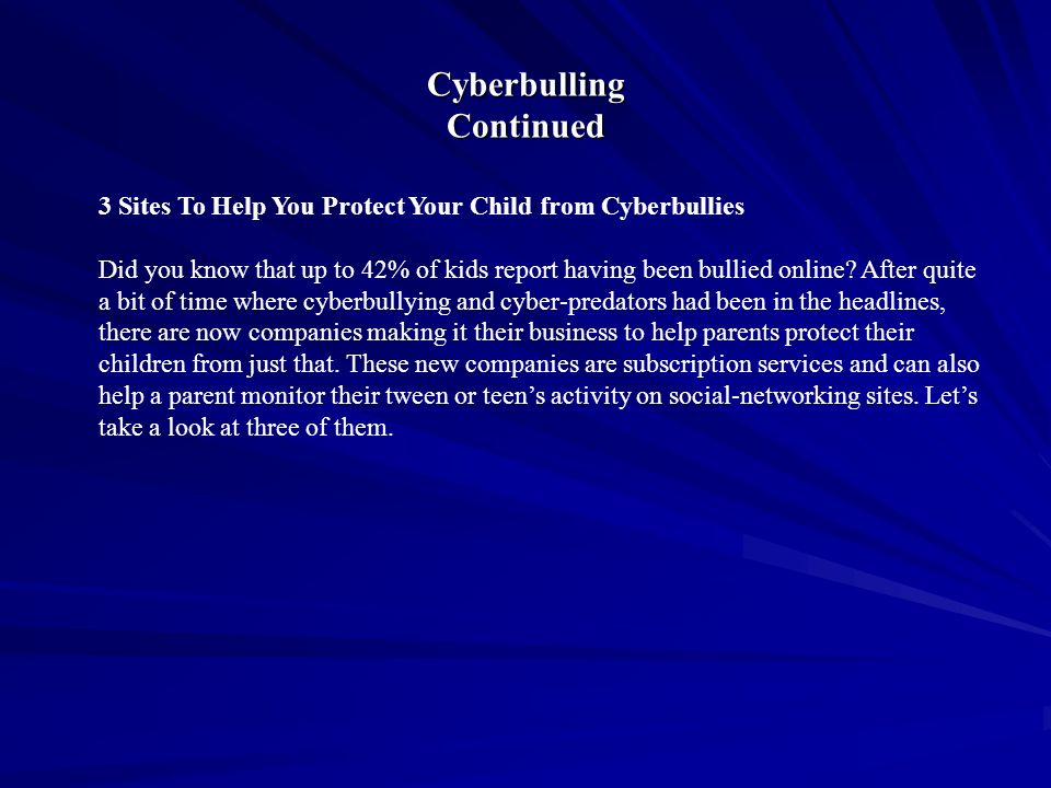 Cyberbulling Continued