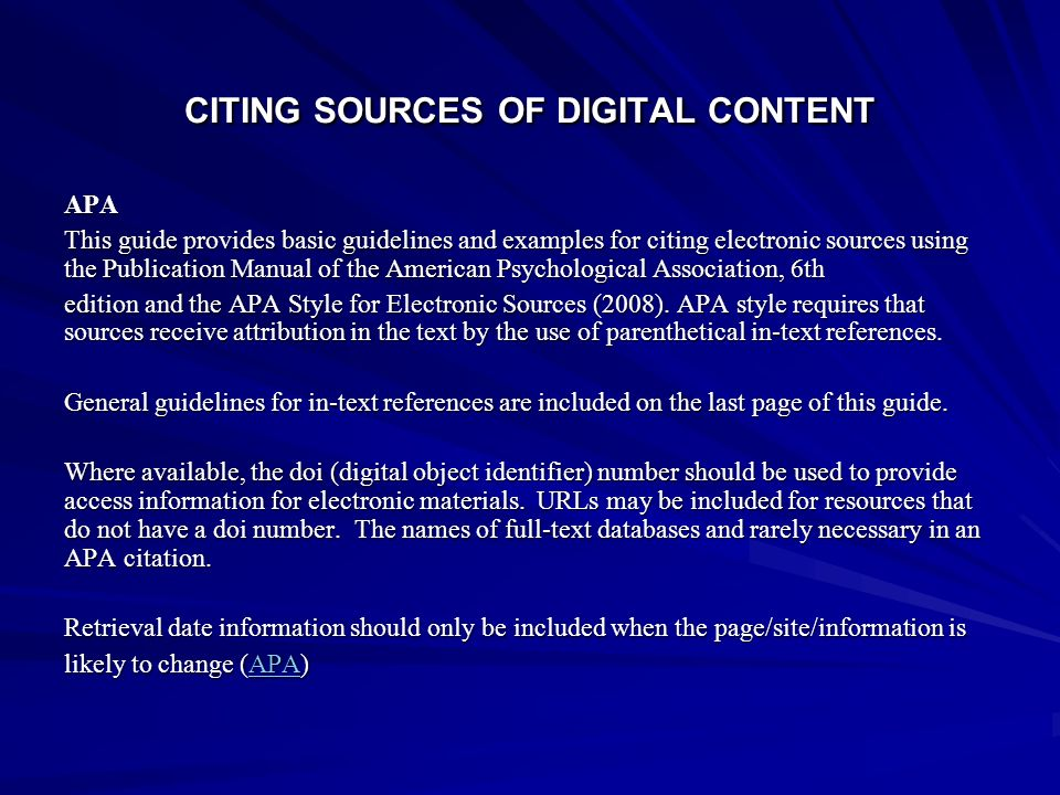 CITING SOURCES OF DIGITAL CONTENT