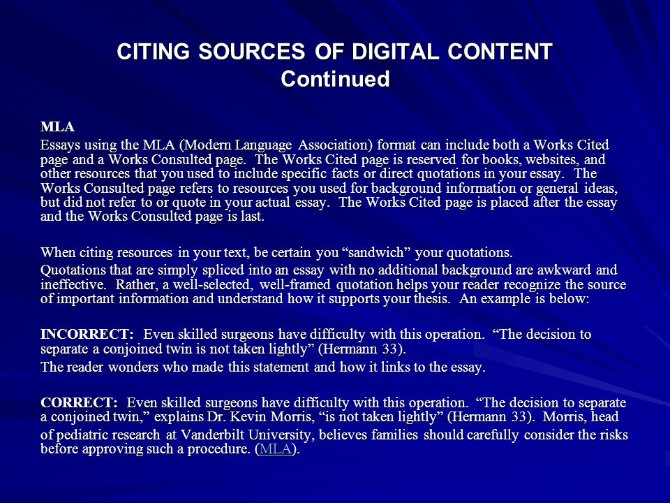 CITING SOURCES OF DIGITAL CONTENT Continued