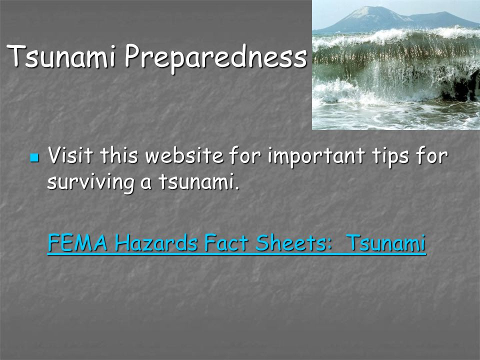 Tsunami Preparedness Visit this website for important tips for surviving a tsunami.