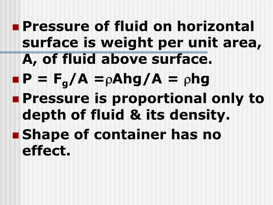 Pressure of fluid on horizontal surface is weight per unit area, A, of fluid above surface.