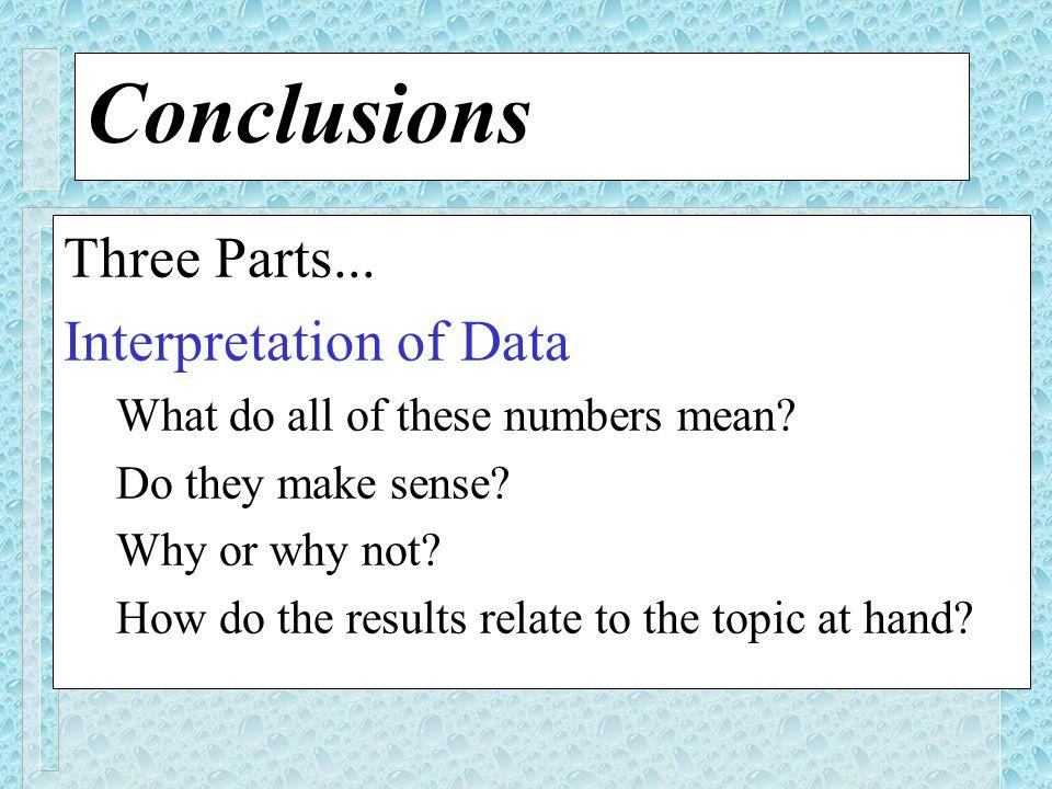Conclusions Three Parts... Interpretation of Data