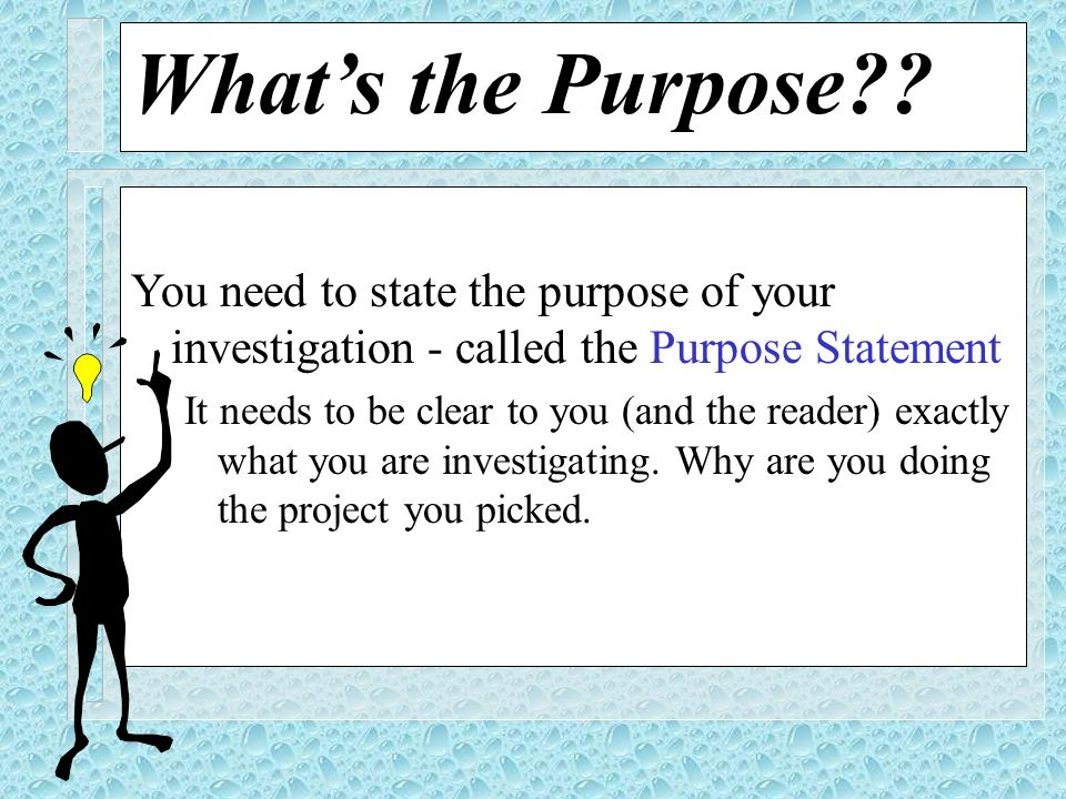 What's the Purpose You need to state the purpose of your investigation - called the Purpose Statement.