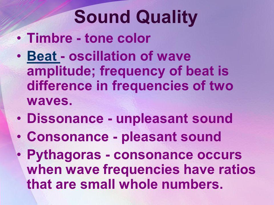Sound Quality Timbre - tone color