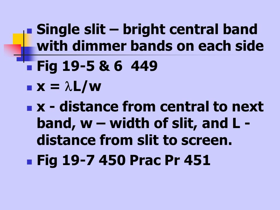 Single slit – bright central band with dimmer bands on each side