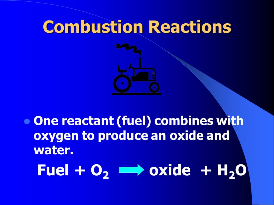 Combustion Reactions Fuel + O2 oxide + H2O