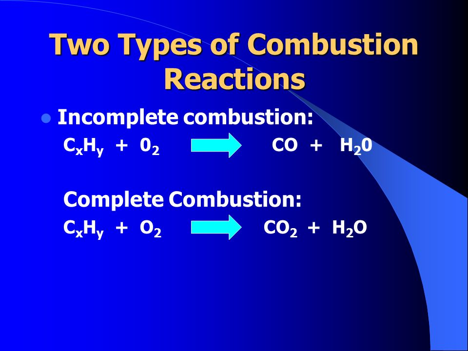 Two Types of Combustion Reactions
