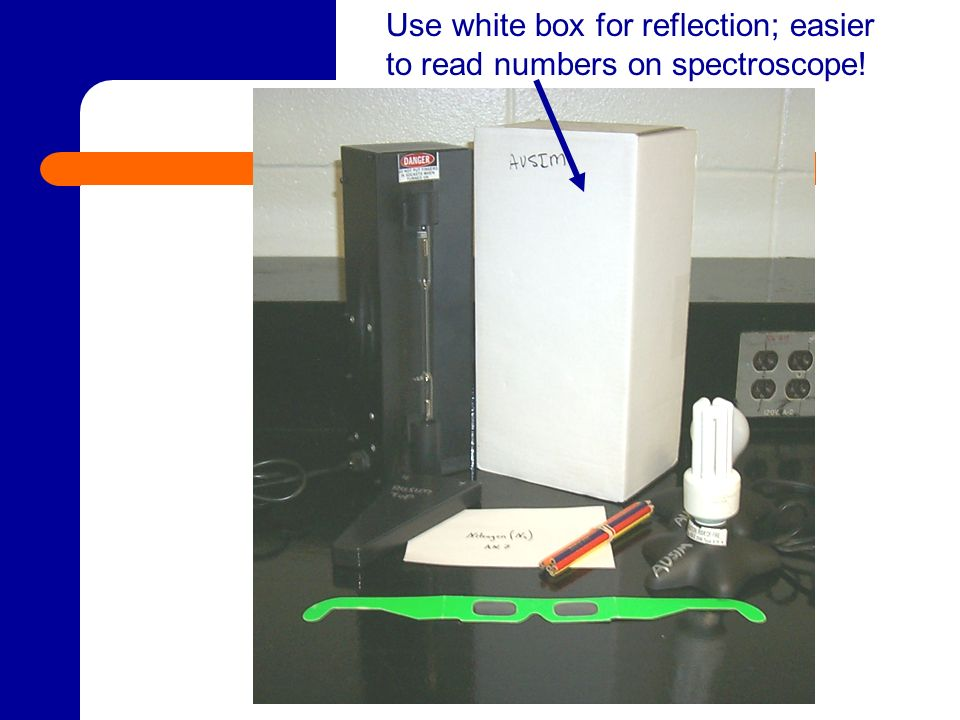 Use white box for reflection; easier to read numbers on spectroscope!