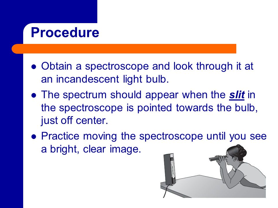 Procedure Obtain a spectroscope and look through it at an incandescent light bulb.