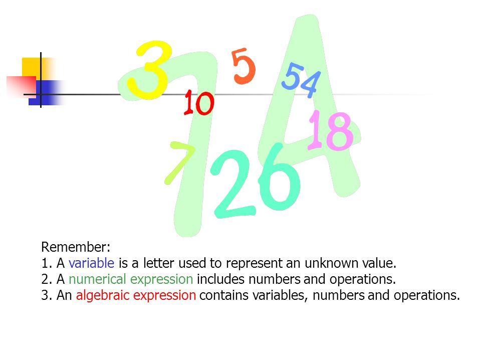 Remember: 1. A variable is a letter used to represent an unknown value. 2. A numerical expression includes numbers and operations.