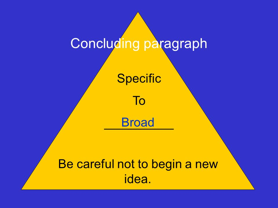 Be careful not to begin a new idea.