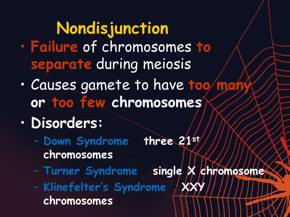 Nondisjunction Failure of chromosomes to separate during meiosis