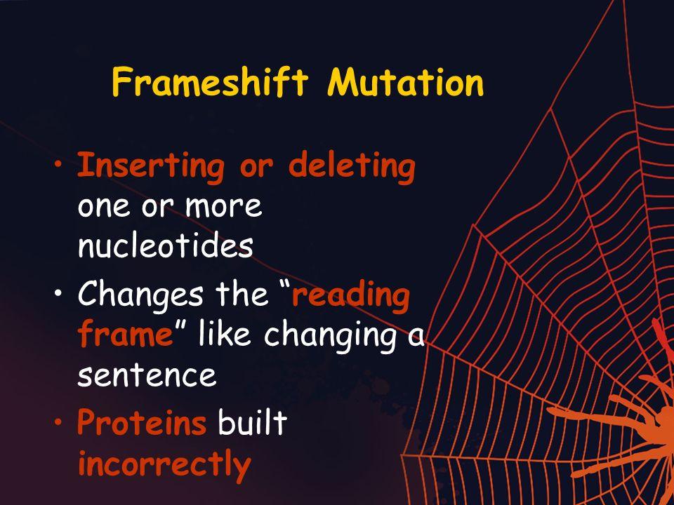 Frameshift Mutation Inserting or deleting one or more nucleotides