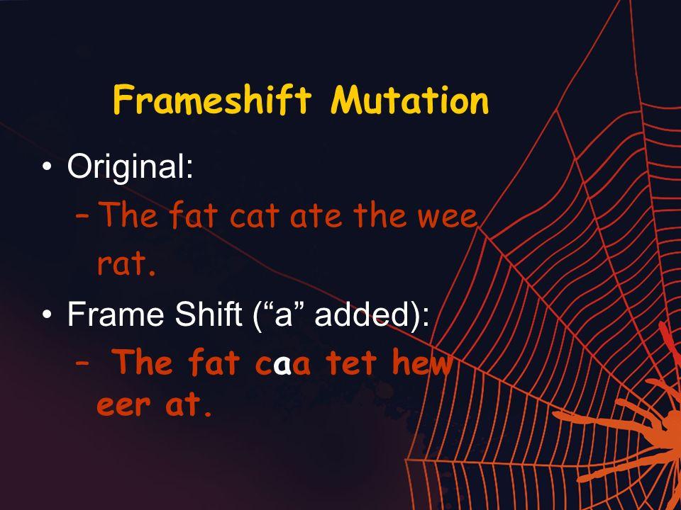 Frameshift Mutation Original: The fat cat ate the wee rat.