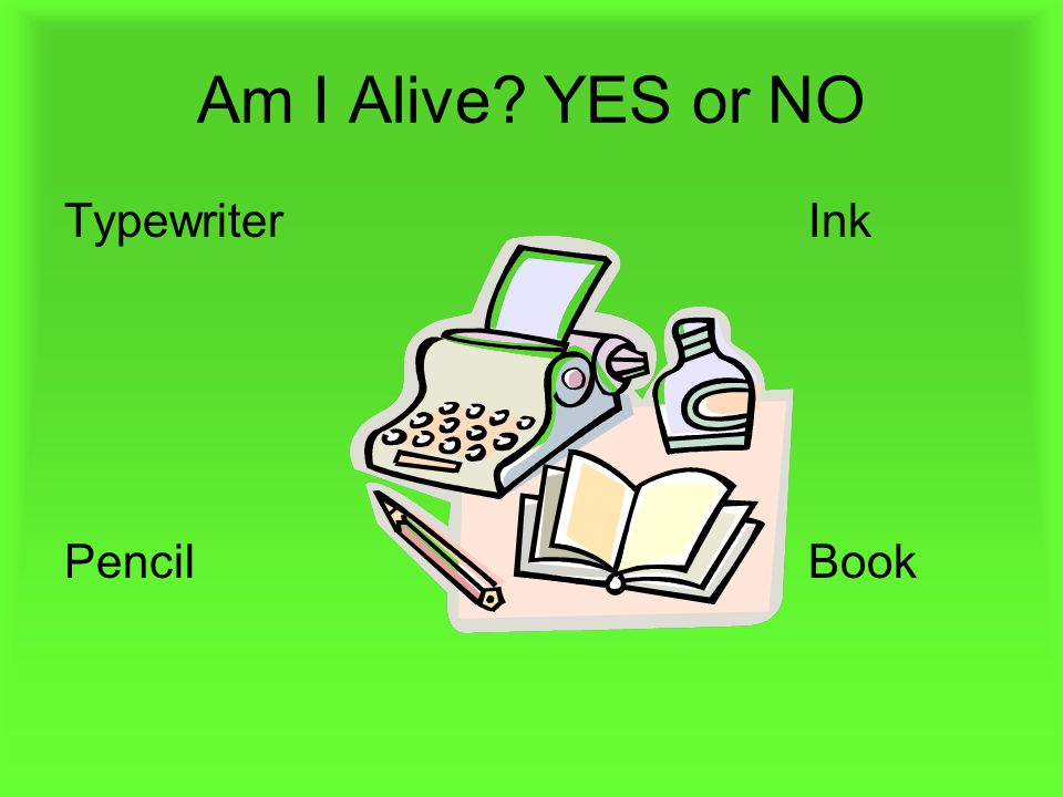 Am I Alive YES or NO Typewriter Ink Pencil Book
