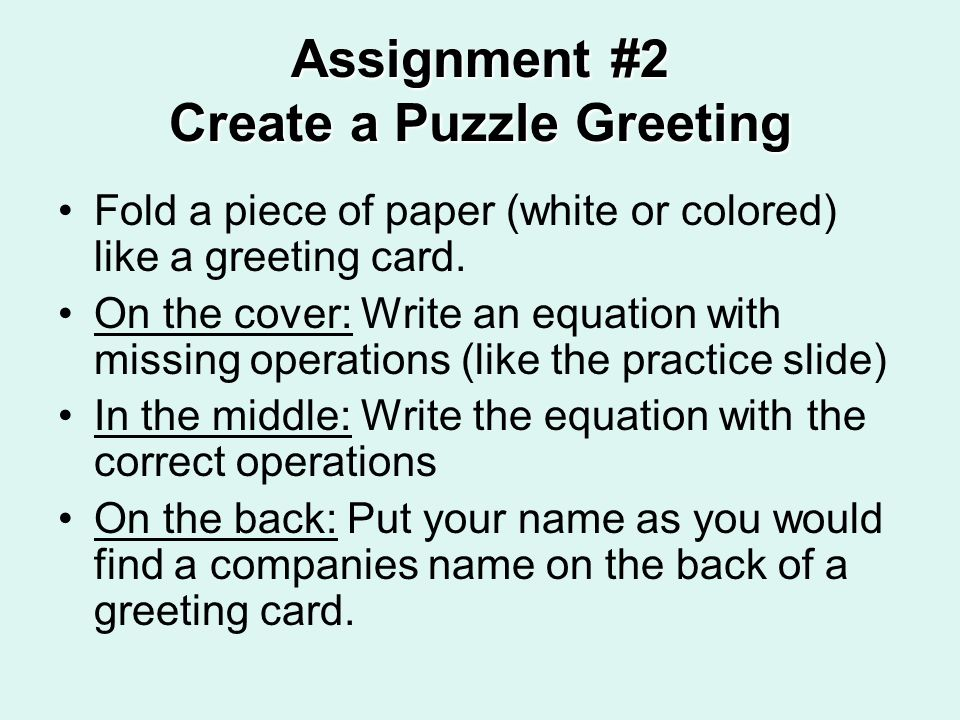 Assignment #2 Create a Puzzle Greeting