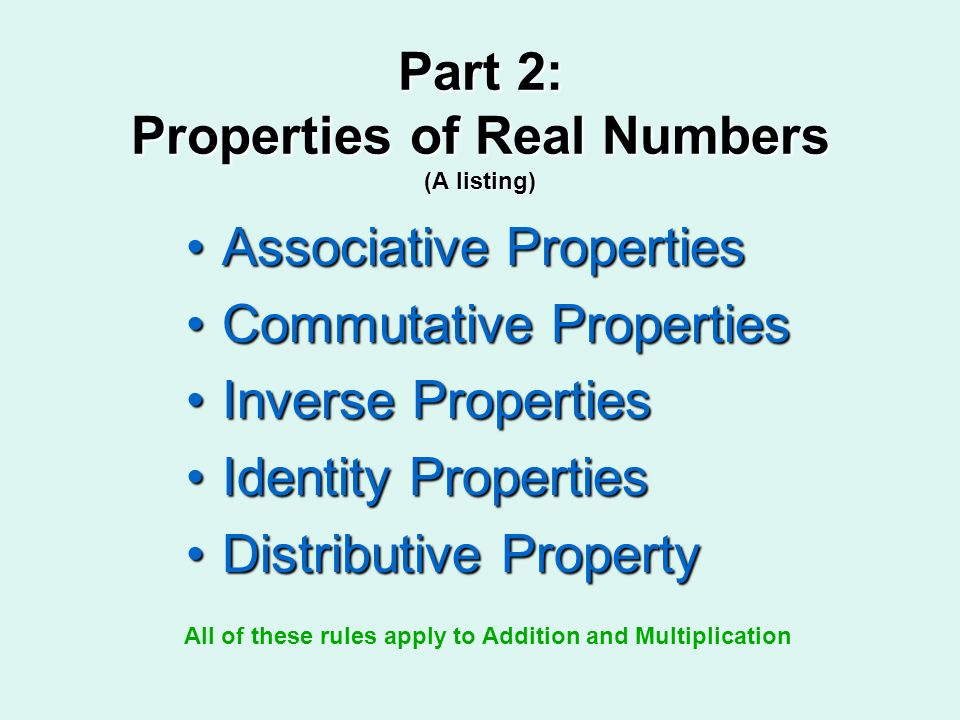 Part 2: Properties of Real Numbers (A listing)