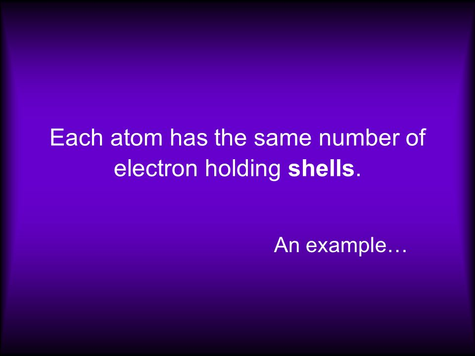 Each atom has the same number of electron holding shells.