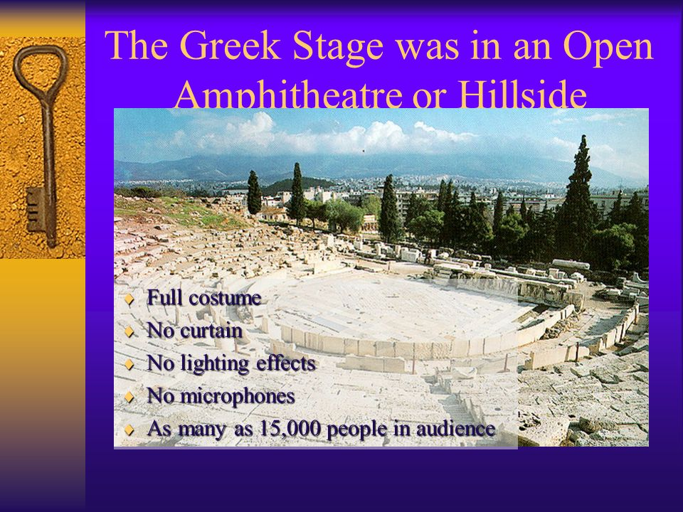 The Greek Stage was in an Open Amphitheatre or Hillside
