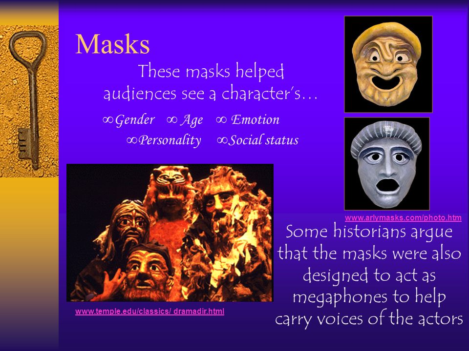 These masks helped audiences see a character's…