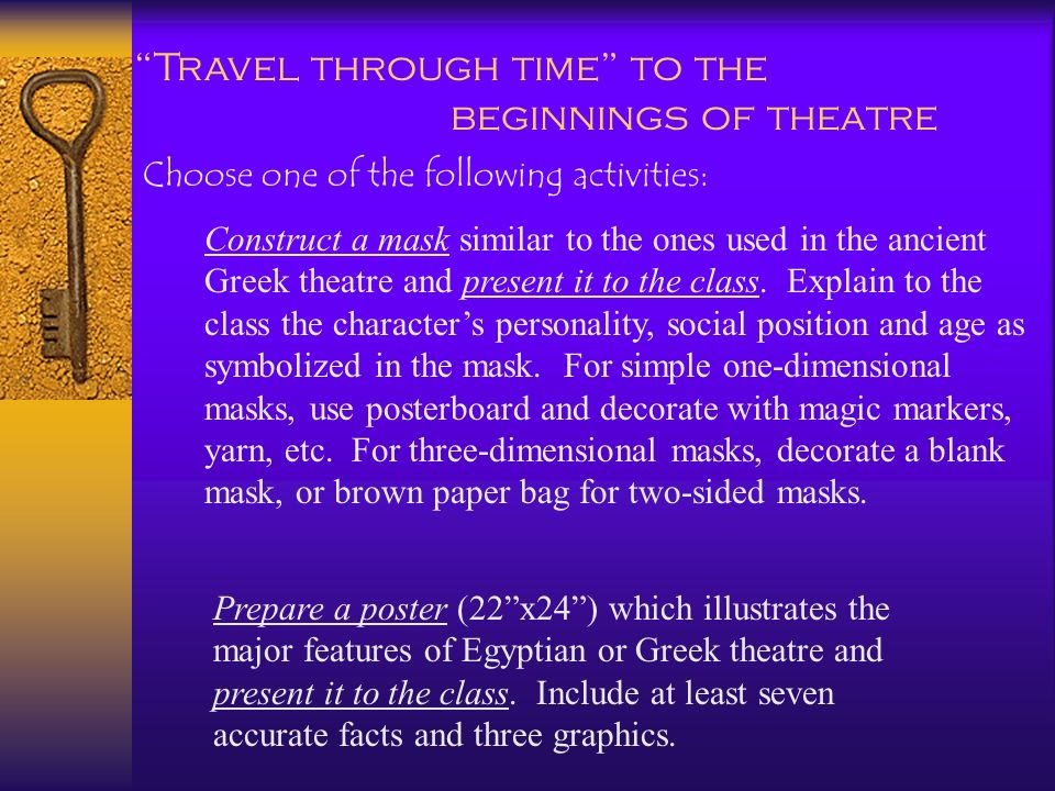 Travel through time to the beginnings of theatre