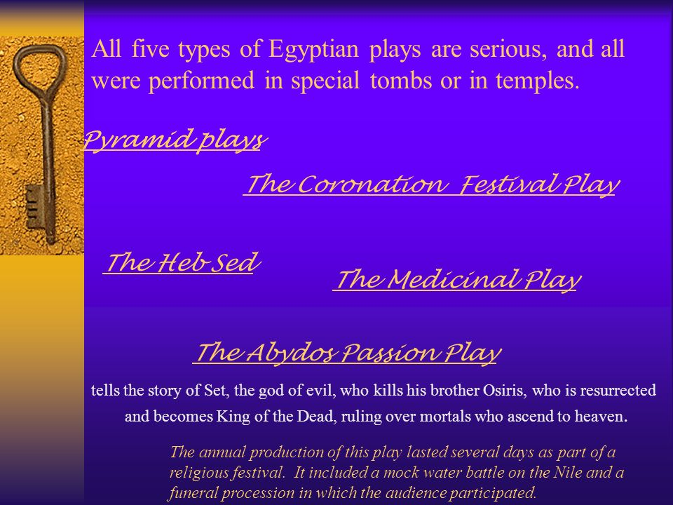 All five types of Egyptian plays are serious, and all were performed in special tombs or in temples.