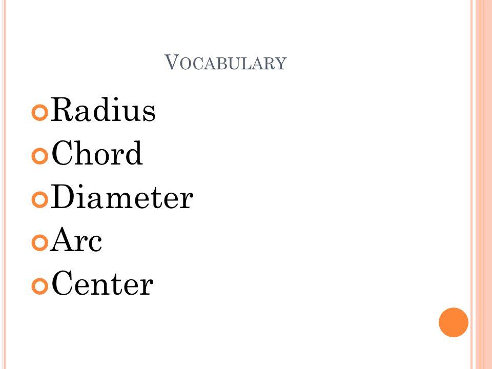 Vocabulary Radius Chord Diameter Arc Center