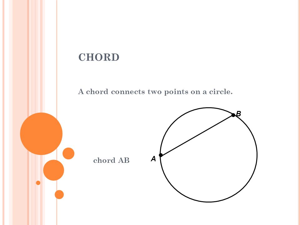 A chord connects two points on a circle. chord AB