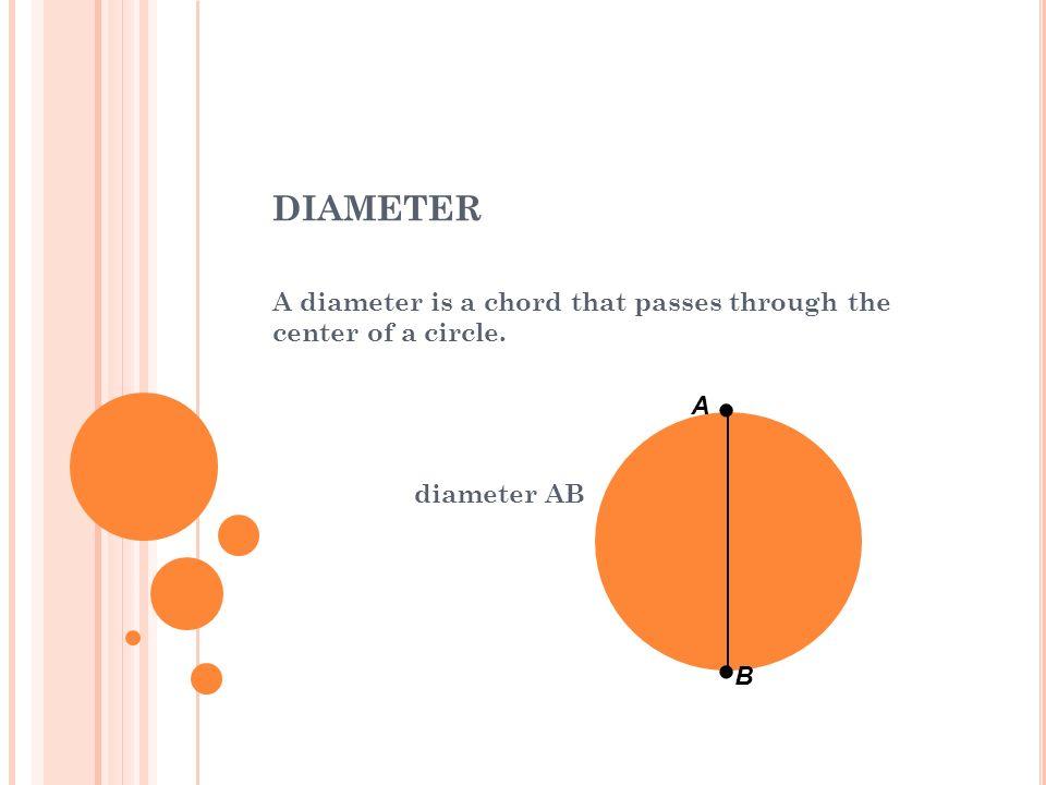 diameter A diameter is a chord that passes through the center of a circle. diameter AB A — — B