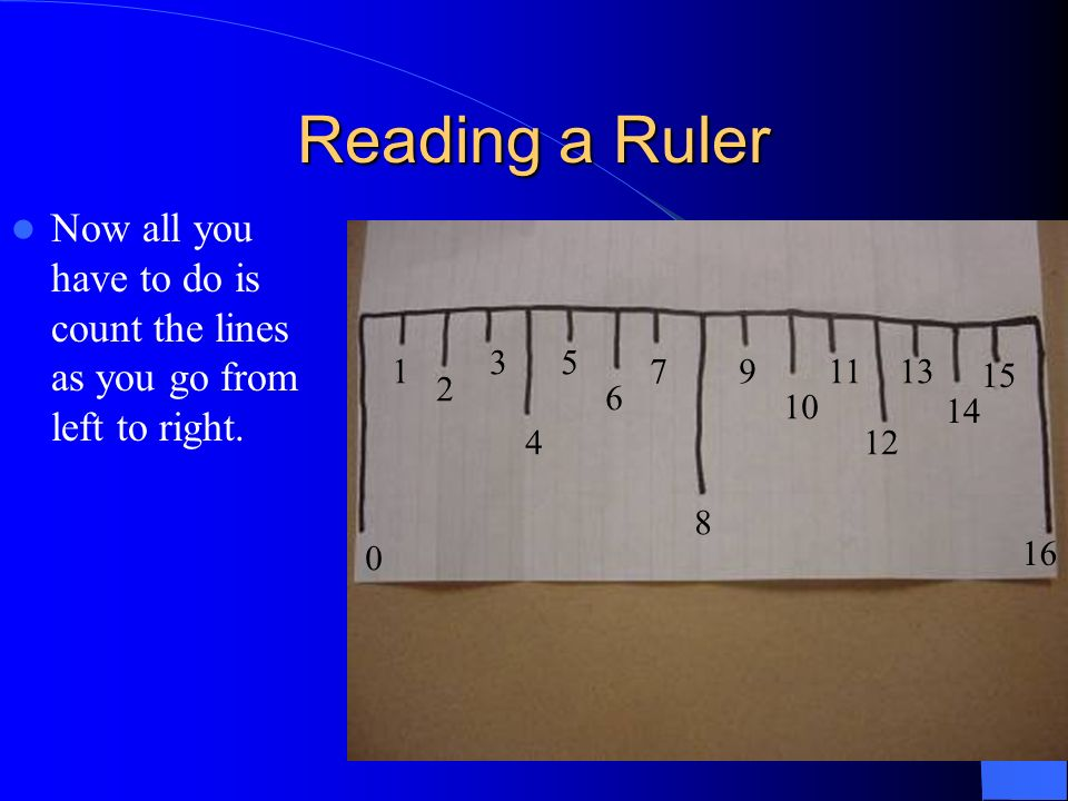 Reading a RulerNow all you have to do is count the lines as you go from left to right. 3. 5. 1. 7. 9.