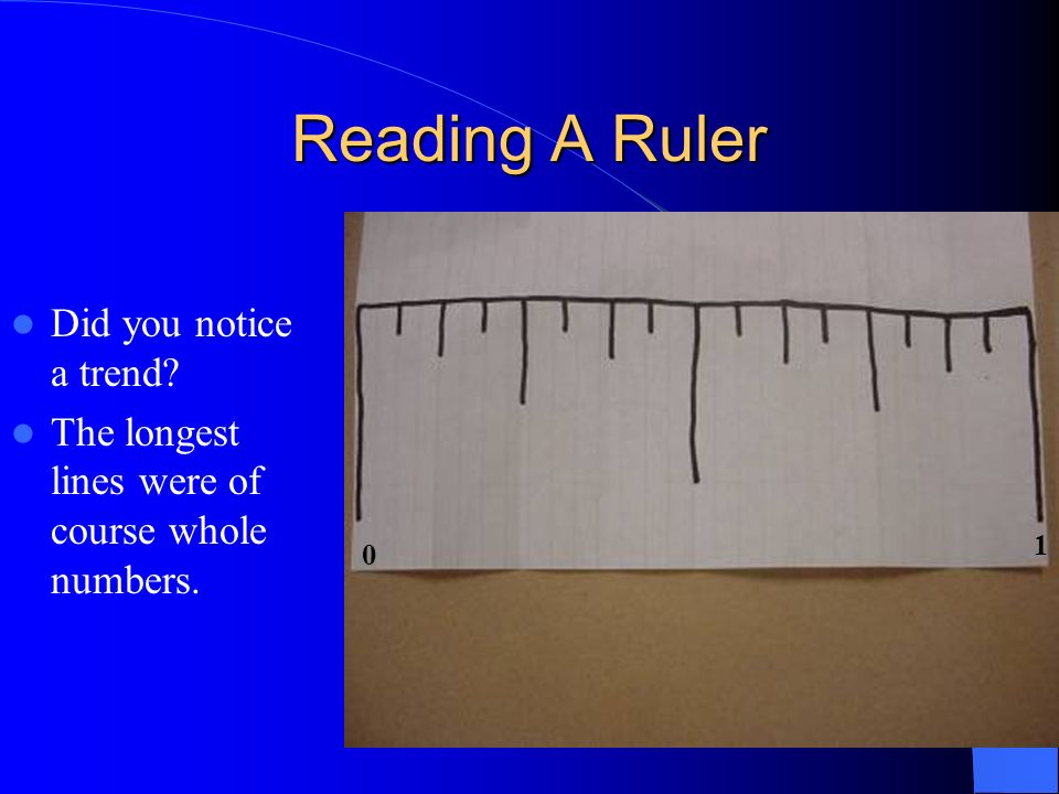 Reading A Ruler Did you notice a trend
