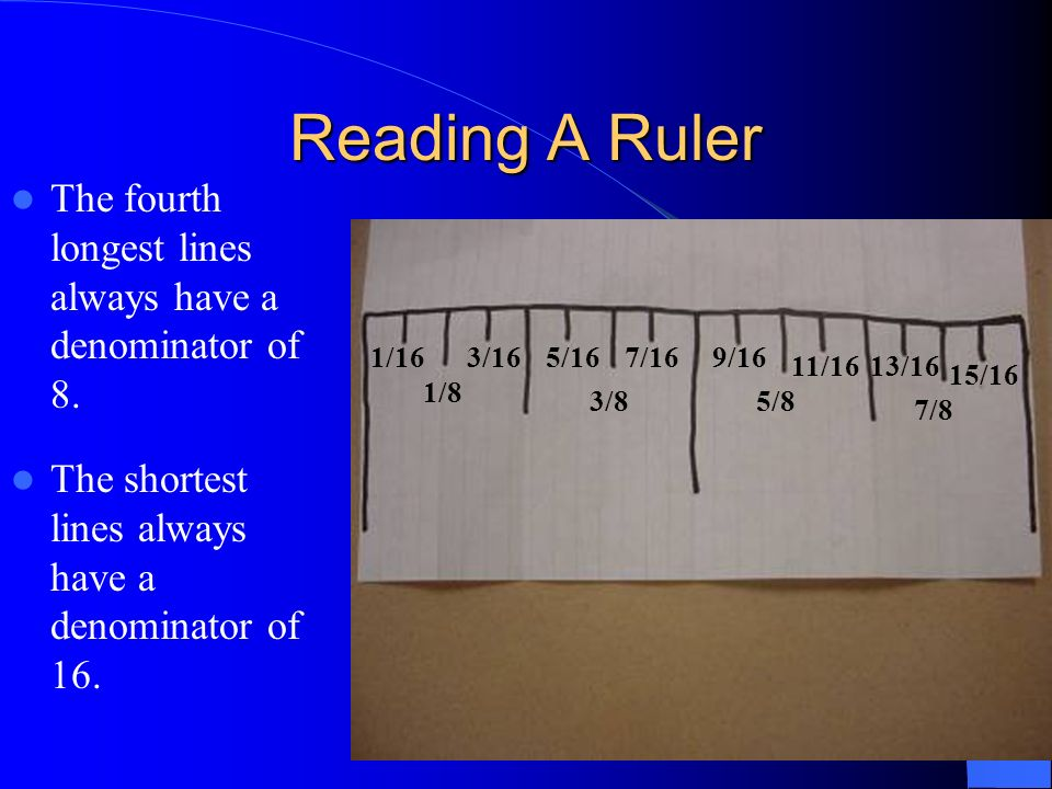 Reading A Ruler The fourth longest lines always have a denominator of 8. 1/16. 3/16. 5/16. 7/16.