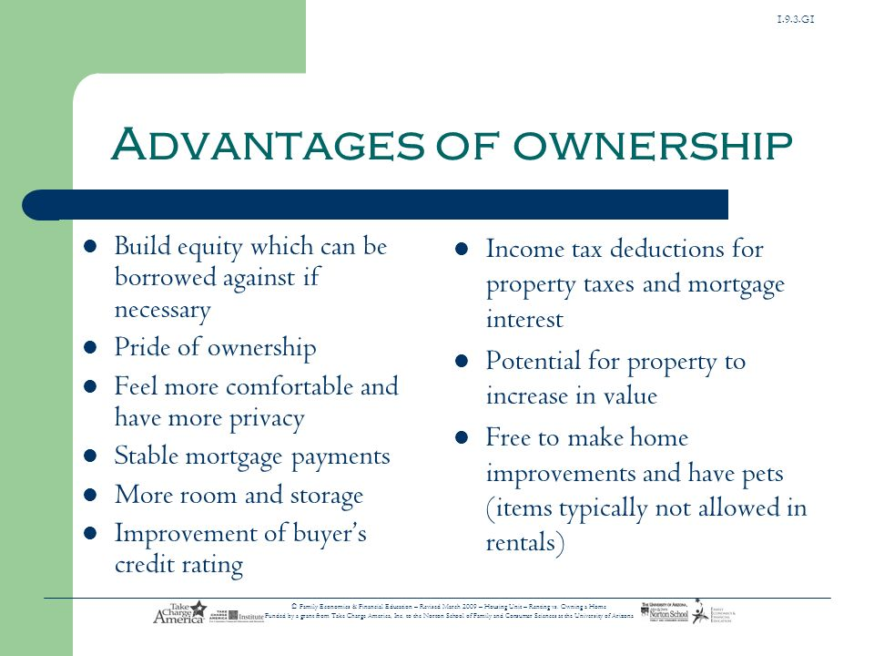 Advantages of ownership