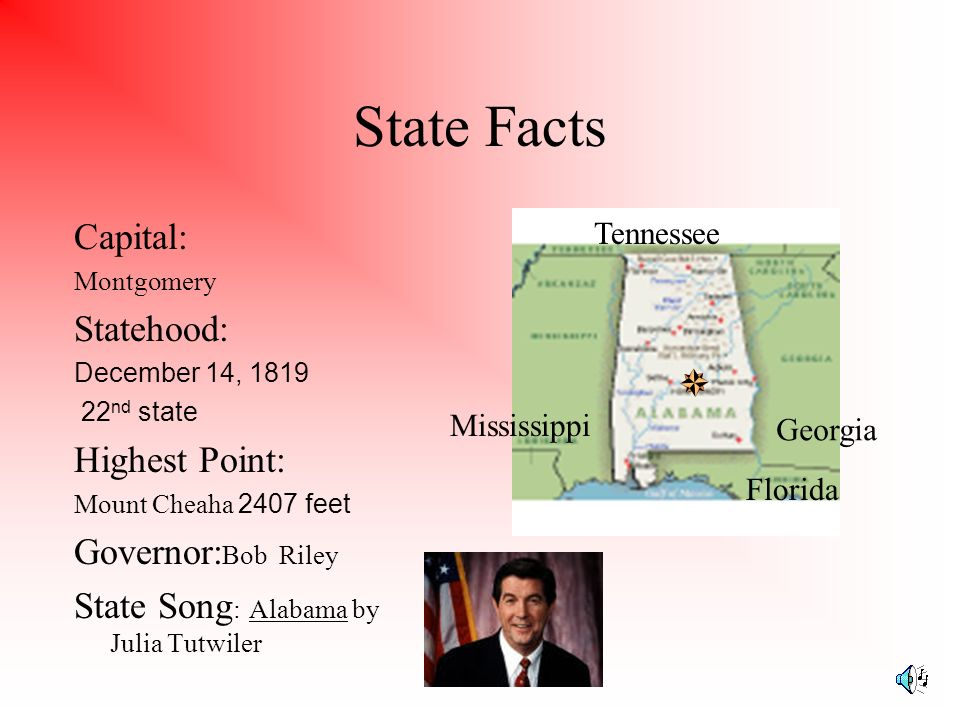 State Facts Capital: Statehood: Highest Point: Governor:Bob Riley