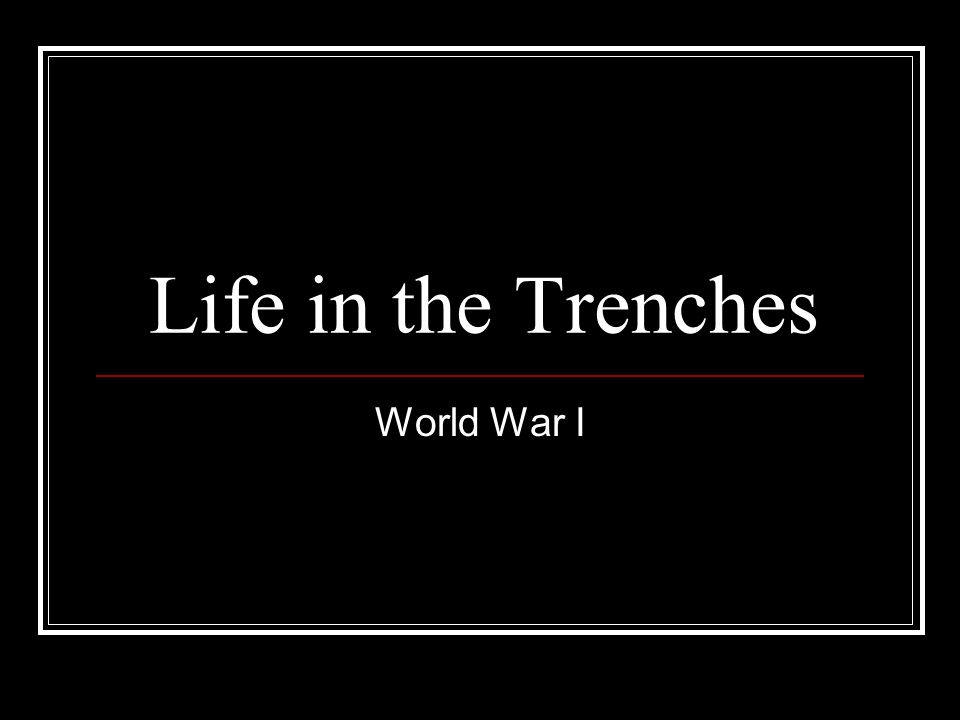 Life in the Trenches World War I