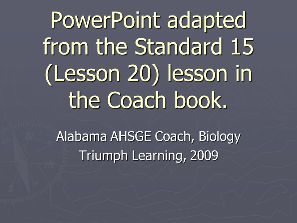 Alabama AHSGE Coach, Biology Triumph Learning, 2009