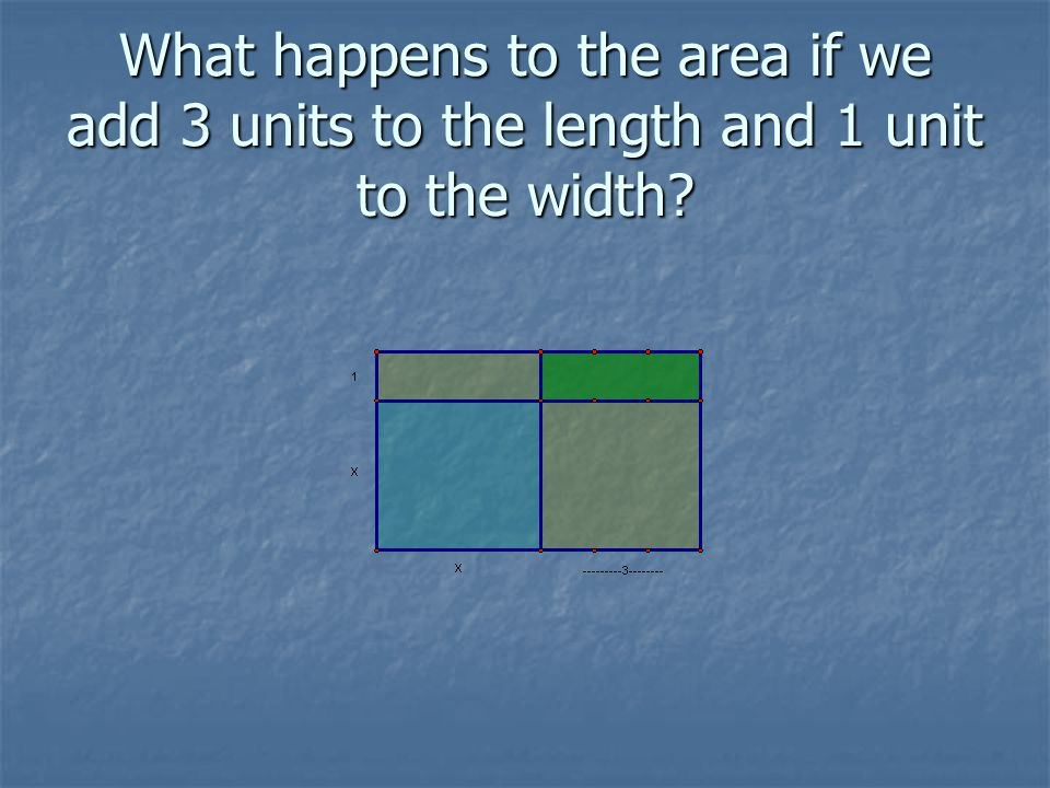 What happens to the area if we add 3 units to the length and 1 unit to the width
