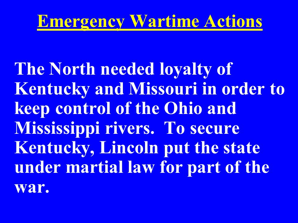 Emergency Wartime Actions
