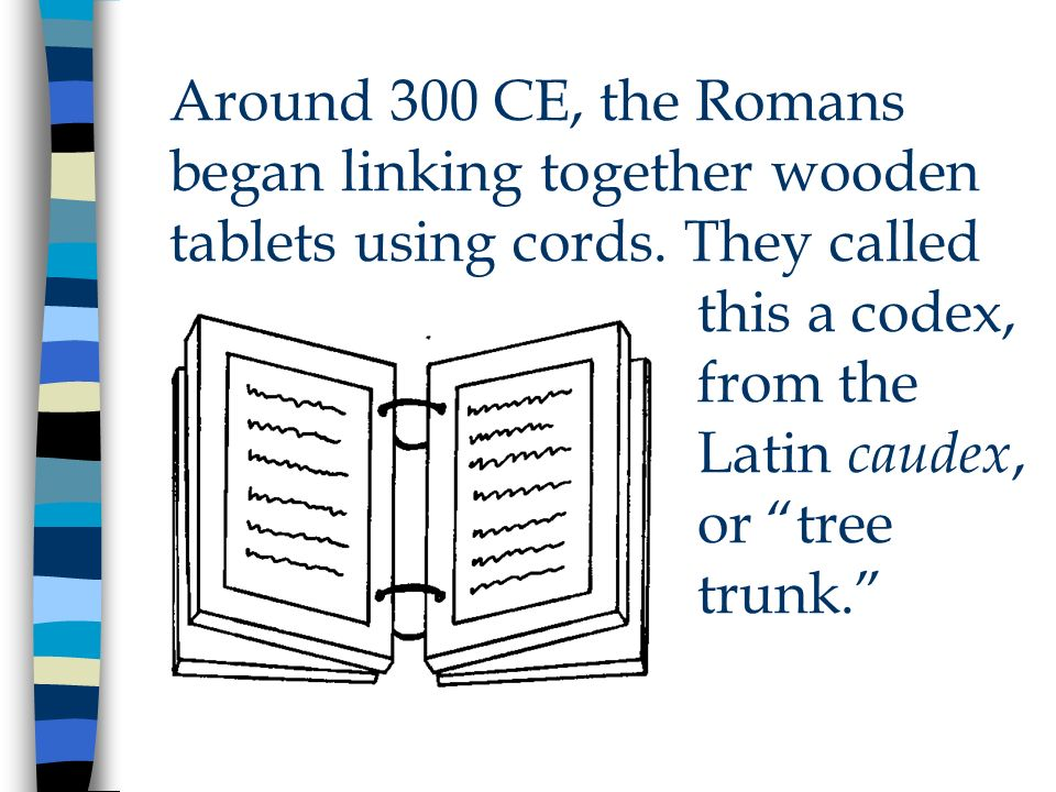 Around 300 CE, the Romans began linking together wooden tablets using cords.