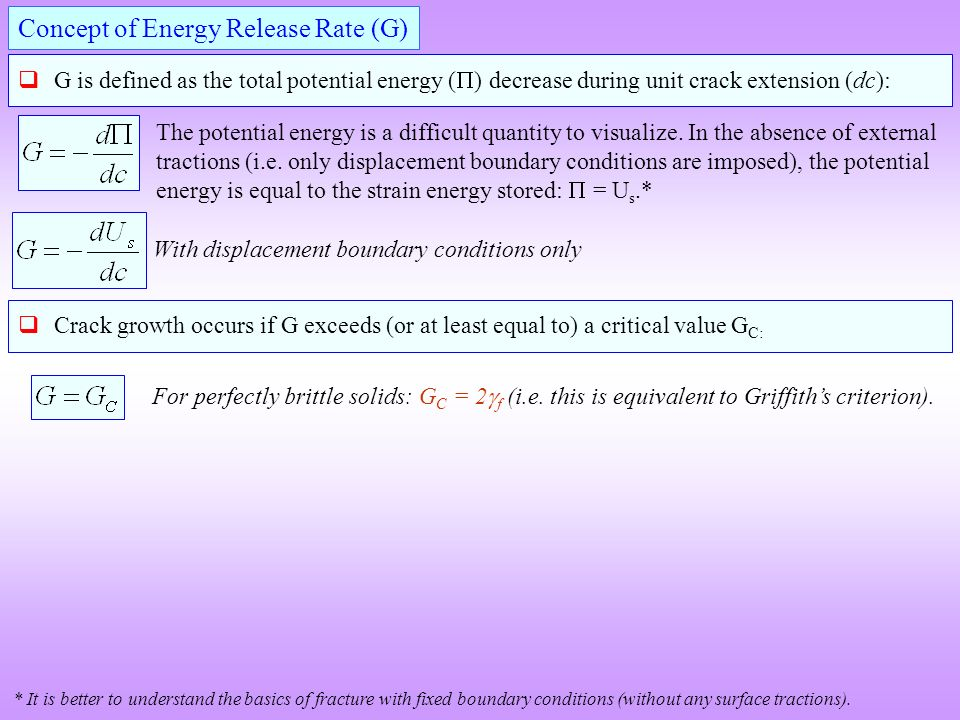 crack propagation energy release rate equation