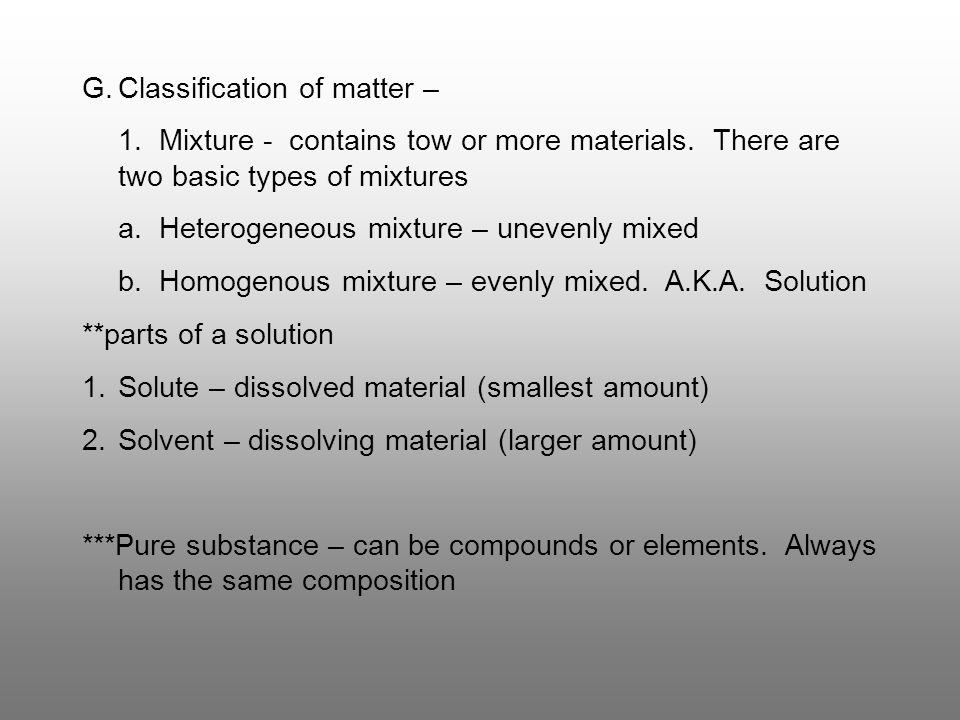 Classification of matter –