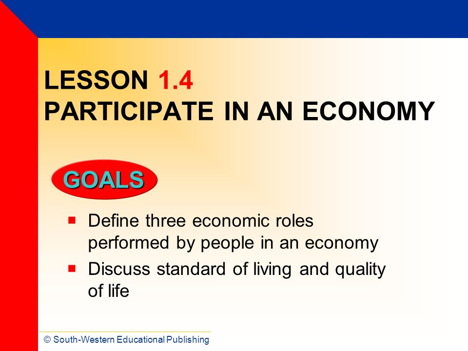 LESSON 1.4 PARTICIPATE IN AN ECONOMY