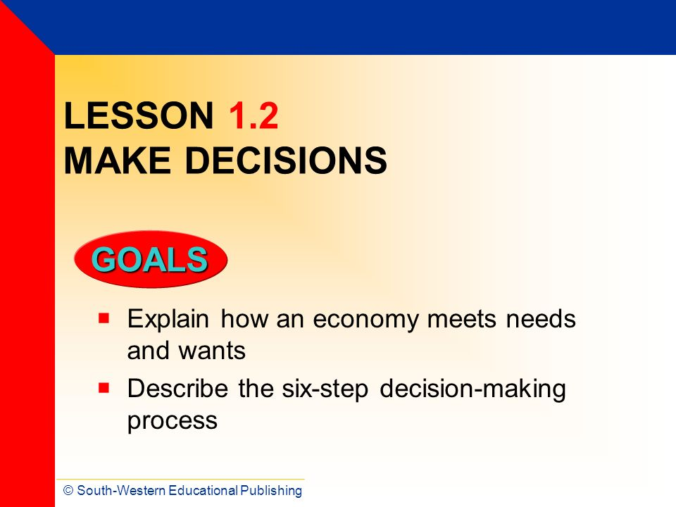 LESSON 1.2 MAKE DECISIONS Explain how an economy meets needs and wants