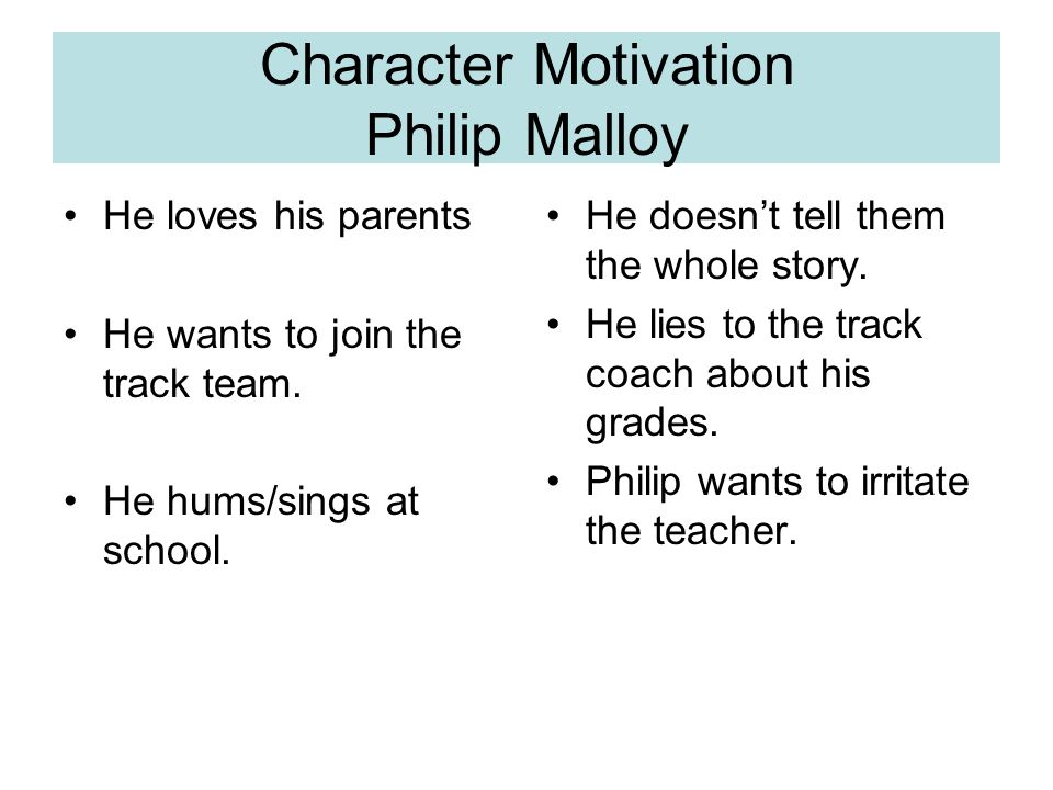 Character Motivation Philip Malloy